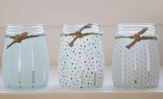 Fabulous look using Washi tape—to create custom handmade votives—a cool look for a wedding❣Fabulous look using Washi tape—to create custom handmade votives—a cool look for a wedding❣ Upcycled Crafts, Diy Crafts, Mason Jar Crafts, Mason Jars, Diy Jars, Candle Jars, Candle Holders, Diy Projects To Try, Craft Projects