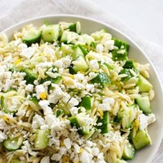 Lemony Orzo Pasta Salad with Cucumber and Feta For a gluten free and healthy option, substitute the orzo with quinoa.