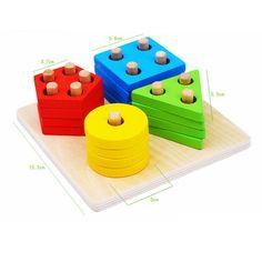 Montessori Brinquedos 2016 Blocos de Forma Geometria De Madeira Crianças Educacionais Blocos De Construção De Madeira Brinquedo Intelectual