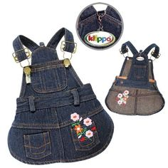 Klippo Pet Cute Denim Dog Dress with Embroidered Flowers and Pockets Sizes: Small Large Dog Clothes, Puppy Clothes, Pet Fashion, Animal Fashion, Dog Overalls, Dog Christmas Clothes, Dog Clothes Patterns, Girl And Dog, Dog Sweaters
