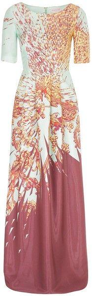 Matthew Williamson Imperial Eagle Liquid Silk T Shirt Column Gown in Pink