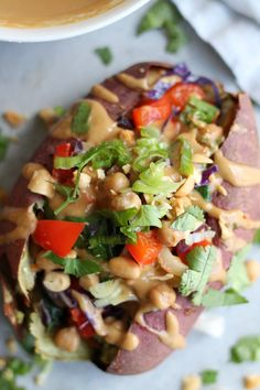 Thai Veggie Chickpea Stuffed Sweet Potatoes