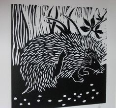 Hedgehog - Hand printed lino cut by Mavina Baker Stamp Printing, Screen Printing, Art Classes For Teens, Linoleum Block Printing, Encaustic Painting, Chalk Pastels, Nature Prints, Wood Engraving, Tampons