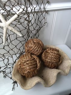 Decorative Rope Balls Nautical Monkey Fist Rope Knots  3 Two Toned Decorative Knot