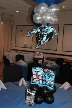 Comic Themed Balloon Centerpiece Comic Book Themed Centerpiece with Floating Superheroes & Table Signs Balloon Centerpieces, Balloon Decorations, Balloon Inside Balloon, Event Decor, Event Ideas, Party Ideas, Table Signs, Balloon Bouquet, Ballon