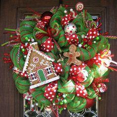 Deco Mesh GINGERBREAD HOUSE CHRISTMAS Wreath by decoglitz on Etsy