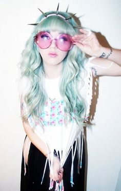 blue gray grey ice platinum blonde dyed pastel hair . . . Yes, I'd like to replicate this lady's hair. :)