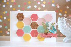 birthday card diy scrap carte anniversaire pastel colours pink rose gold doré butterfly papillon