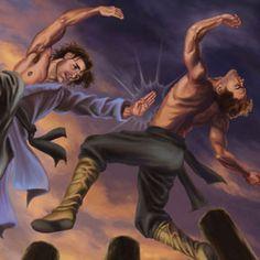 Deux guerriers de kung-fu se battent tout en équilibrant sur le dessus de pruniers pôles de fleurs