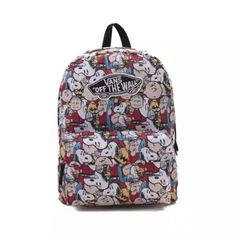 Don't leave home without Charlie Brown and the gang with the new Realm Peanuts Backpack from Vans! The Realm Peanuts Backpack sports exterior graphic prints of your favorite Peanuts characters with signature Vans logo patch, and plenty of compartment space for all of your essentials.