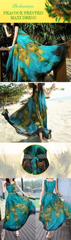 Gracila Bohemian Women Sleeveless O Neck Peacock Printed Maxi Dress