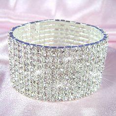 10 Row Stretch Bridal Clear Crystal Rhinestone Bracelet CB910