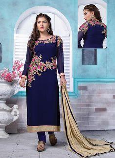 Buy designer salwar kameez such as indian designer salwar suit online. Order this georgette embroidered and resham work churidar designer suit.