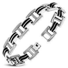 argent/é 21 cm Urban-Jewelry Bracelet maillons larges en acier inoxydable 316L