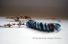 DENIM necklace disk beads by Natalja Ivanková panarili by PANARILI