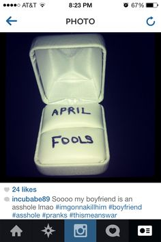 Worst April fools prank ever! Seriously wanted to kill him....