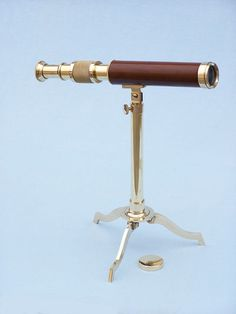 """Solid Brass Telescope on Stand 17"""" - Wood"""