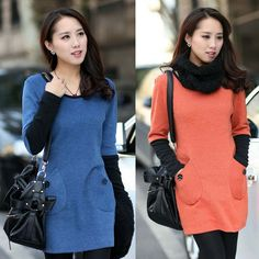 Size M-3XL Korean Slim Long Section Pocket  Women Bottoming Shirt 4 Colors Long Sleeve Lady Casual T-shirt Free Shipping C1276 $39.98