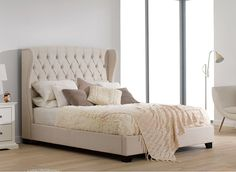 Atherton Cream Fabric Upholstered Bed Frame Deep Button Tufted Headboard