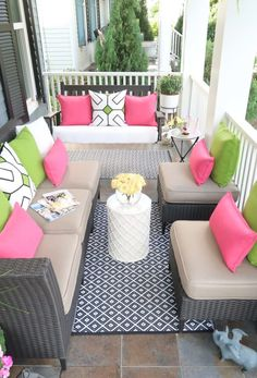 Did you know if you choose the right outdoor furniture pieces you can create a lot of seating on a small porch or small patio? Here I show you how to choose the correct patio furniture and layout that furniture to maximize your outdoor living space. Small Patio Furniture, Home Bar Furniture, Colorful Furniture, Outdoor Furniture Sets, Furniture Ideas, Rustic Furniture, Antique Furniture, Modern Furniture, Garden Furniture