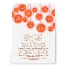 Shop Orange - Coral Lights Wedding Invitations created by jinaiji. Orange Wedding Invitations, Couples Shower Invitations, Engagement Party Invitations, Beautiful Wedding Invitations, Wedding Invitation Templates, Custom Invitations, Invites, Vintage Invitations, Elegant Modern Wedding