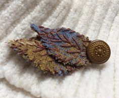 Harris Tweed Fabric Leaves Brooch. Pale Blue by KnitwitDesignsUK