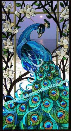 Peacock 17x37 Glass Art Panel  Spectacular!!  www.TheEnchantedGarden.net