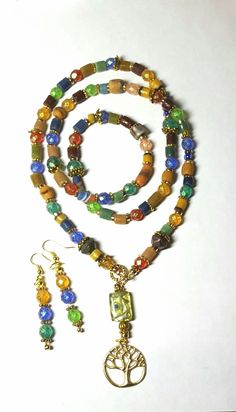 Boho chic necklace and earrings BethExpressions.etsy.com