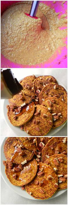 flourless pumpkin oat blender Pancakes. 1 tbsp ground flax seed + 3 tbsp water½ tbsp apple cider vinegar*1 cup almond milk*½ cup pumpkin puree1 tsp vanilla extract1 heaping tbsp maple syrup, agave syrup or honey*1½ tsp cinnamon½ tsp ginger½ tsp nutmeg3 tsp baking powder½ tsp baking soda½ tsp sea salt2 cups oats. Pancake