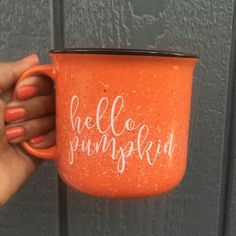 Hello Pumpkin Campfire Coffee Mug - Pumpkin Lover - Fall Coffee Mug by Pretty Collected