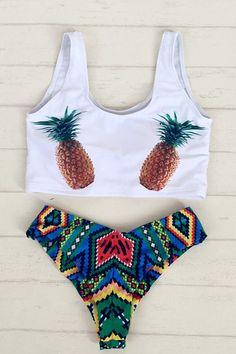 Floralkini White Pineapple Print Bikini Top X Tribal Print Bottom