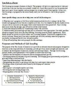 Cub Scout Parent Orientation Packet.  Great for new Cub Scouts and great for a Primary President to give an 8 year.
