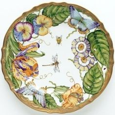 Summer Morning Hand Painted Limoges dinner plate