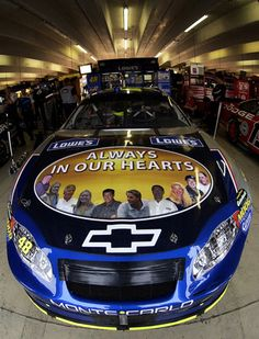 Jimmie Johnson (Always in Our Hearts) Following a plane crash that took the lives of 10 Hendrick Motorsports employees in October 2004, the pictures of the victims were displayed on the hood of Johnson and Jeff Gordon's cars.  Jimmie Johnson won the race at Atlanta in which this car was used, but certainly, that is a win he would gladly give back if the awful events that led to this paint scheme could be taken away.