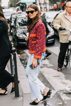 Street Style - Heeled mules styled with denim and a patterned jacket