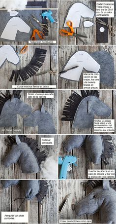 DIY - felt stick horses - Drone Forever And Never Ending<br> Felt Diy, Felt Crafts, Diy And Crafts, Horse Party, Cowgirl Party, Sewing Hacks, Sewing Crafts, Sewing Projects, Sewing Tips