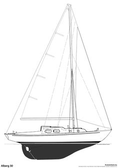 The Alberg 30 Sailboat : Bluewaterboats.org - Specifications LOA: 30′ 3″ LWL: 21′ 8″ Beam: 8′ 9″ Draft: 4′ 3″ Displacement: 9,000 lbs Sail Area: 410 sqft  Designer: Carl Alberg Year Introduced: 1962 Year Ended: 1987 Builder: Whitby Boat Works