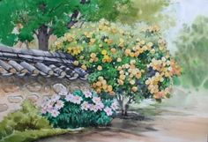 Watercolor Landscape, Watercolour Painting, Watercolor Flowers, Modern Pictures, House Drawing, Art N Craft, Canvas Paper, Urban Sketching, Modern Art