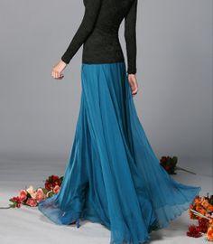 dark blue  Chiffon skirt Maxi Skirt Long Skirt Maxi by lydiadress, $39.99
