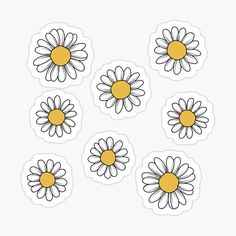 'Daisy Flower Sticker Pack' Sticker by Jamie Maher Stickers Kawaii, Cute Laptop Stickers, Bubble Stickers, Cool Stickers, Macbook Decal Stickers, Journal Stickers, Planner Stickers, Tumblr Sticker, Homemade Stickers