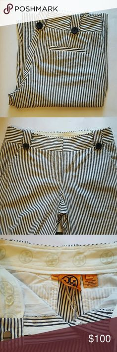 "NWOT Tory Burch Strip Flares Just in time for summer. Lightweight high rise wide leg Flares. Hand wash, no dry clean. Sized as 0. Navy and white stripes. Navy buttons.  These still have a makers Barcode on the fly area.  Unaltered 78% Cotton 22% poly F3A  Unstretched Flat Measurements  Waist 13"" Rise 8"" Inseam 34"" Tory Burch Pants Boot Cut & Flare"