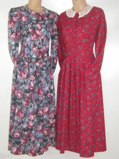 7c8e18a1b73 LAURA ASHLEY VINTAGE ROSE MORNING GLORY AUTUMN WINTER DAY DRESS