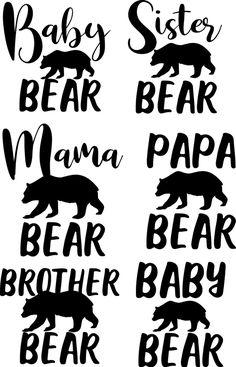 Free Bear Family Svg Cricut Svg Files Free Baby Bear