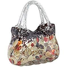 "Brown and Cream 8"" High Handblown Glass Handbag"