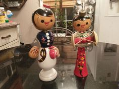 Hand Made & Painted Wood Asian Bobble Head Dolls