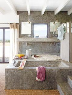 Un oasis de relax: #baño #integrado en el #dormitorio #cemento #bañera