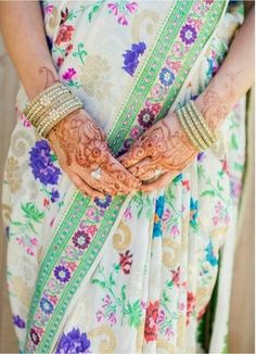 White floral saree