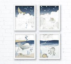 Color Palette: Nautical Whale Nursery Art Print - Fish Kids Room Decor, Beige Navy Grey Wall Art Childrens Room, Ocean Animals, Moon and Stars Nursery Whale Nursery, Star Nursery, Nursery Room Decor, Nursery Art, Nursery Ideas, Baby Boy Art, Grey Wall Art, Nautical, Kids Room