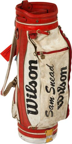 "1990 Wilson Golf Bag from The Sam Snead Collection. Presented here is another classic ""Wilson Sam Snead"" - Available at 2013 December 6 - 7 Golf. Sam Snead, Wilson Golf, Golf Etiquette, Golf Stand Bags, Golf Ball Crafts, Tennis Funny, Vintage Golf, Golf Tips For Beginners, Golf Pants"