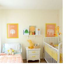 Perfect shared bedroom in a small space (think converted home office). Wonderful for toddler and baby! I like the cream walls, white furniture and yellow/peach/pink accents!